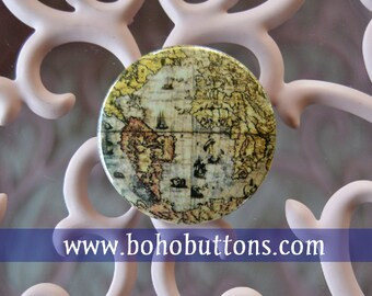 Ancient World map, map pin, travel map, world map, travel keychain, travel button, pinback button, map pin back button vintage map magnet
