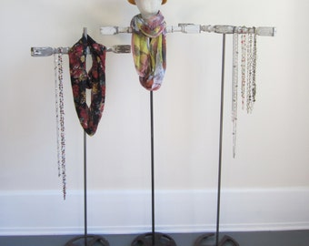 """SALE One 50"""" Tall Necklace / Scarf / Hat Display - Available WITH or WITHOUT Mannequin Head - Freestanding Accessory Display Rack"""