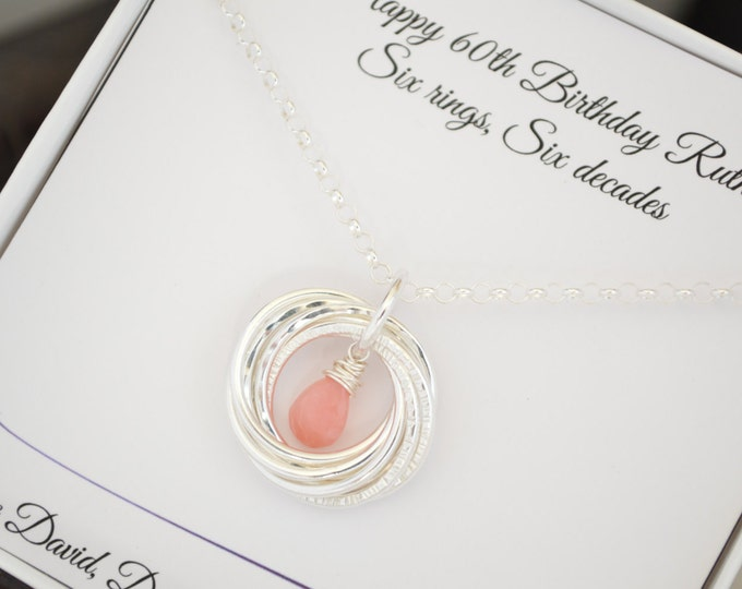 Pink opal jewelry, October birthstone necklace, 60th Birthday gift for mom, 6th Anniversary gift, Gift for mom necklace, Jewelry for mother