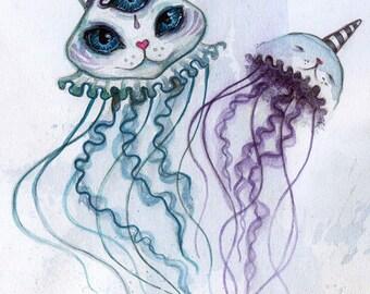 Jelly-purrrs - small wall art, cat artwork, hybrid animal, jellyfish, digital art print, mini art print, trippy art, cat art print