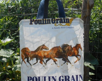 Upcycled Tote Bags from feed bags ~ Running Horses Tote