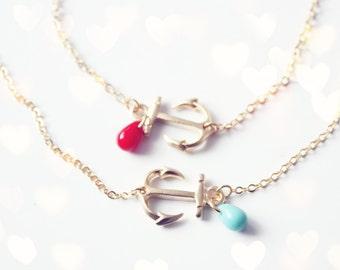 sideways anchor bracelet - gold nautical dainty jewelry with pop of red
