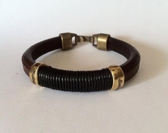 Leather bracelet.  licorice leather. husband gift, cool jewelry. gift for him, man bracelet