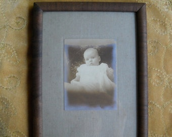 Vintage Black and White Baby Photo and Frame