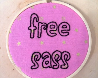 Framed Free Sass Handmade Embroidery On Pink And Gold Star Fabric, Finished Piece