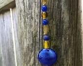 Gold Moon Suncatcher, Blue Beaded Suncatcher, Hanging Garden Decor, Window Decor, Recycled Jewelry Art, Boho Ornament, Christmas Ornament