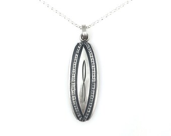 Silver Oval Infinity Disc Pendant hand stamping