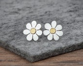Forget me not earrings in solid silver and 18ct gold