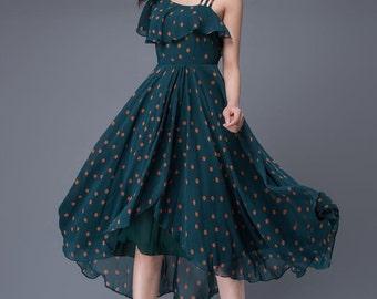 Blue chiffon dress prom women's dress wedding dress summer  C876