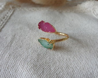 double  fish Agate Druzy Drusy gold plate Mineral Ring Raw Gemstone Rough Statement Adjustable Ring