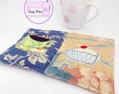 Mug rug sewing pattern, drink coaster pdf, teacher gift, snack mat pattern, coffee lover, tea lover, mini quilt tutorial,applique pattern