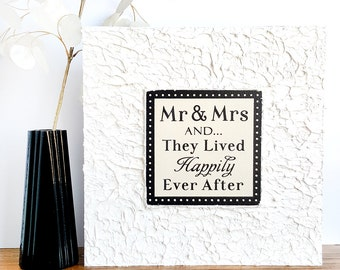 Creamy White Mr and Mrs And They Lived Happily Ever After Wall Art — Wedding Gift, Marriage, Inspiring Home Decor