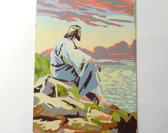 Jesus Paint By Number - 12 x 16 Unframed PBN - Religious Wall Art - Jesus On The Rocks - Jesus Sitting On The Shore