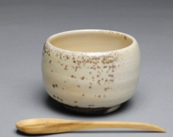 Clay Salt Cellar Bowl Wood Fired  with Wood Spoon E56