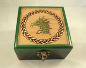 Beautiful Cherry Wood Ombre Stained Green Celtic Knotwork and Dragon Head Jewelry or Keepsake Box