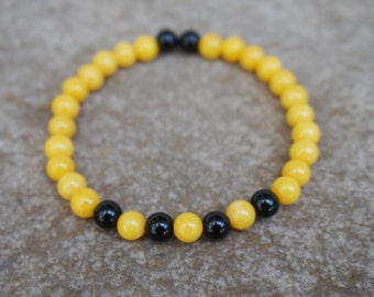 Pittsburgh Bracelet, Black and Yellow Stretch Bracelet, Pittsburgh Steelers, Pittsburgh Pirates, Gift for Sports Fan, Onyx and Yellow Jade