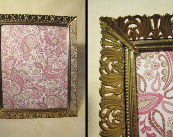 Ornate 8x10 Filigree Metal Picture Frame - Floral Gold Tone Finish - Hollywood Regency, Shabby Chic, Paris Apartment Style