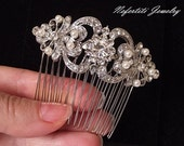 Bridal Hair Comb, pearl Wedding hair comb, ivory pearl hair comb, Wedding hair pieces, crystal hair comb, rhinestone and pearl comb