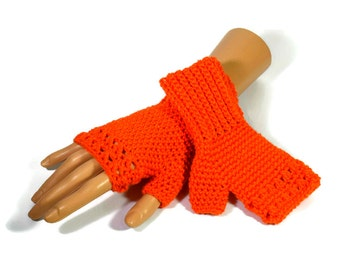 Ladies Orange Crochet Gloves - Orange Fingerless Gloves - Non Animal Fibres - Gifts For Women - Teens Stocking Fillers