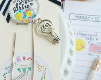 let your light shine - inspirational planner /bible journaling jumbo paper clip