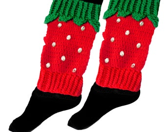 Strawberry Leg Warmers Fruit Boot Socks Red Legwarmers Kawaii Legwarmers Crochet Berry Leg Warmers with Emerald Green Leaves Knit Legwarmers