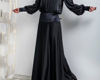 Black Maxi Dress/ Homecoming dress/ Evening dress/ Cocktail dress/ Chiffon dress/ Long sleeve dress/ Elegant dress/ Special occasion dress