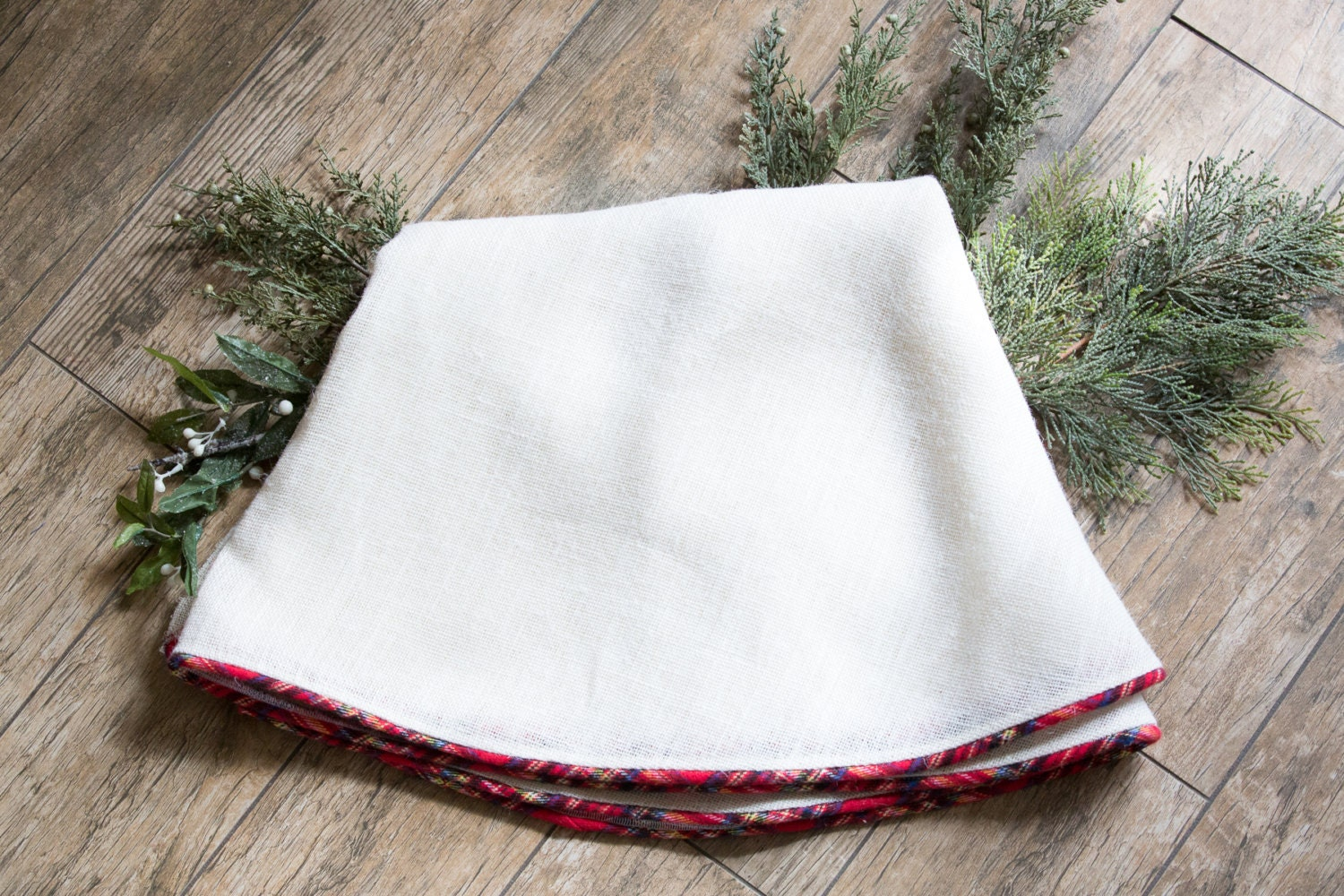 Christmas Tree Skirt White Linen Tree Skirt Tartan Plaid