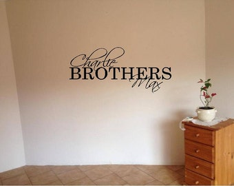Boys with two names Vinyl Wall Decal-Personalized Monogram Childrens Wall Decals- Nursery Wall Decals-Decal with lettering