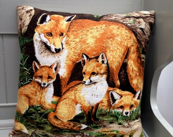 Fox Cubs woodland Cushion / Pillow cover Upcycled Teatowel