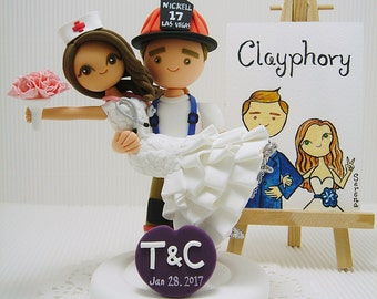 Firefighter and Nurse Custom wedding cake topper