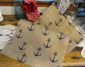 Navy Blue & Gold Anchors on Natural Burlap Table Runner, Anchor Runner, Nautical Runner, Nautical Table Decor, Anchor Burlap Runner