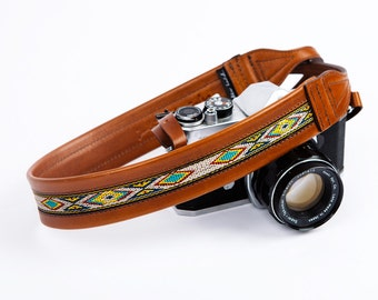 Sold out till October 15th!! THE MAYAN TRIBE | Leather Camera Strap, Aztec Camera Strap, Bohemian Leather Camera Strap,