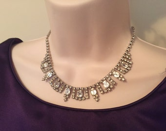 Stunning La Rel Vintage Clear Rhinestone Choker Necklace - Perfect for any occasion