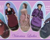 Victorian ladies in bustle 1:12 scale for dollshouse