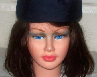 1960s Satin Pillbox Hat  - Excellent Condition - Navy Blue - Unmarked