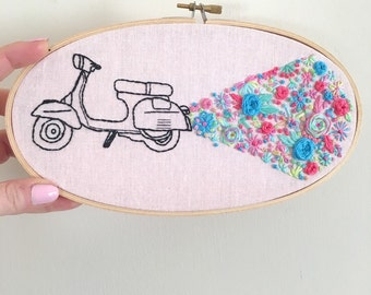 Hand Embroidered Vespa with Floral Exhaust Fumes set in wooden frame - 5 x 9 inches