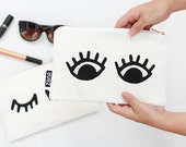 EYES Pouch - Cosmetics Pouch with Lines Printed Pattern. Modern Small Make Up Purse or Pouch.