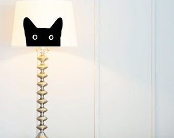 Cat | Lamp Shade 23 cm (9-inch) fabric, hand painted