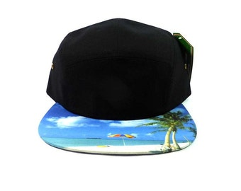 Custom Embroidery 5 Panel Black and Blue with Palm Trees Flat Bill Hawaiian Hat Snap back Beach