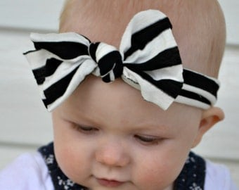 Black and White Stripe Baby Headband