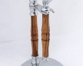 Shaving set in shaped zebra wood, beautiful, handsome and functional shave kit in two matching pieces, shaving stand and razor handle