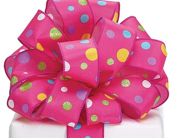 Ribbon P0LKA PINK satin multi-color  Wired edge.- WREATHS, Spring Garlands, Hair Bow, Floral ,Packaging Supply, Lilly