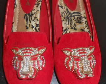 Vintage Red Velvet Flats Jewel Embellished Tiger Head Brass Heel Alba