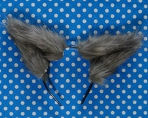 Charcoal Gray Costume Animal Cat, Fox, Wolf Ears Headband