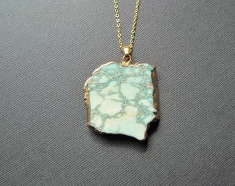 Sea sediment jasper necklace - light blue jasper pendant - gold filled jewelry -