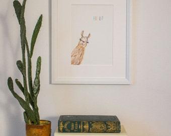 Hello Llama - A5 Print (unframed)
