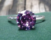 Alexandrite Ring, Sterling Silver Ring with 8mm Color Change Alexandrite, Wedding Ring, Proposal Ring, Engagement Ring
