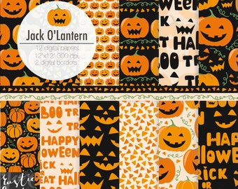 Halloween digital paper with carved pumpkins. Jack O'Lantern digital paper for Halloween decorations, scrapbooking, cards, wall art. 12 PNG