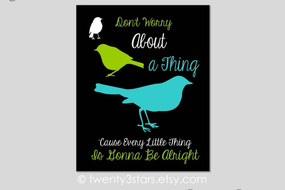 Bob Marley Three Little Birds Song Quote Canvas Or By