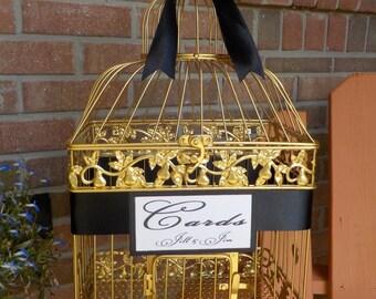Bird Cage Wedding Card Holder, Gold Birdcage Money Box Holder, Bridal Supplies, Golden Wedding Anniversary, Personalized Wedding Supplies